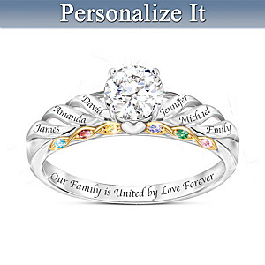"""Family Is Forever"" Personalized Topaz And Birthstone Ring"