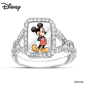 "Disney ""On With The Show"" Mickey Mouse Diamonesk Ring"