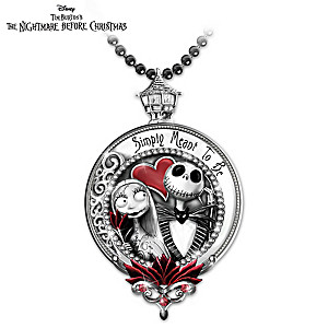 """""""Jack And Sally"""" Engraved Pendant Necklace"""