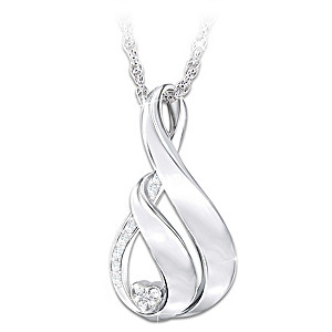 """My Family, My Love"" Engraved Diamond Pendant Necklace"