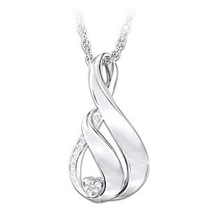 """My Family, My Love"" Engraved Diamond Pendant Necklace"