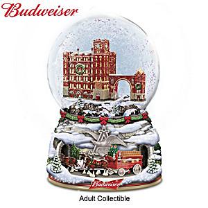 Budweiser Musical Christmas Glitter Globe With Moving Wagon