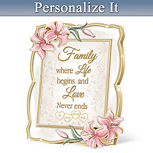 """Love Begins With Family"" Porcelain Personalized Frame"