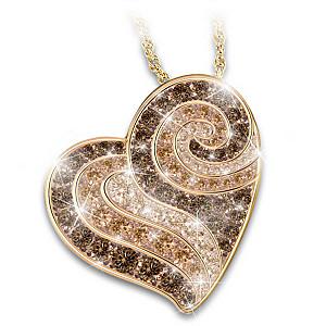 """Live, Love, Latte"" Swarovski Crystal Pendant Necklace"