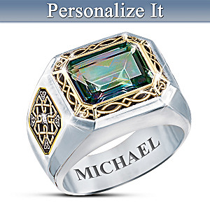 """""""The Legend Of Ireland"""" Men's Personalized Topaz Ring"""