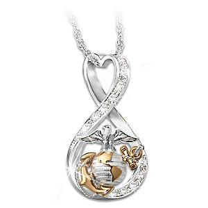 """I Love My Marine"" Women's Swarovski Crystal Necklace"