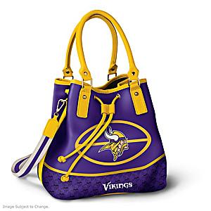 Minnesota Vikings Bucket Handbag With Team Logo