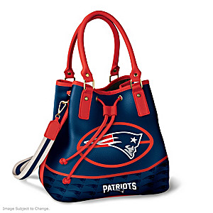 New England Patriots Bucket Handbag With Team Logo