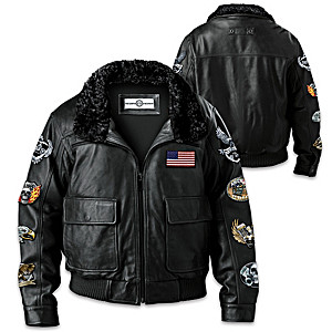 """Ride Hard Live Free"" Leather Bomber Jacket With Patches"