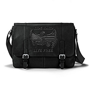 Ride Hard, Live Free Leather Messenger Bag
