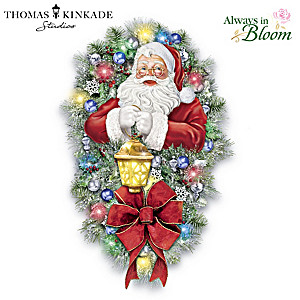 Thomas Kinkade A Most Enchanted Christmas Wreath Lights Up