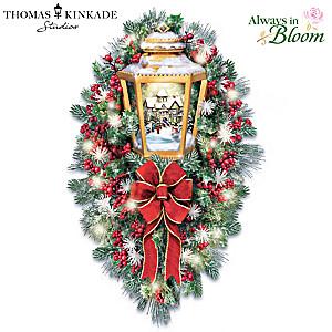 Thomas Kinkade Illuminated Lantern Wreath