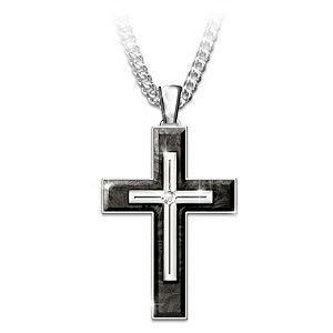 """Forged In Faith"" Sapphire Cross Pendant Necklace For Son"