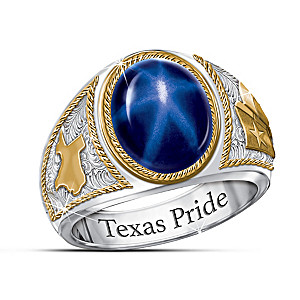 """The Lone Star"" Created Star Sapphire Men's Ring"