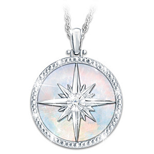 """Always My Daughter"" Diamond Compass Rose Pendant Necklace"