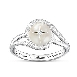 """God's Pearl Of Wisdom"" Mother-Of-Pearl And Diamond Ring"