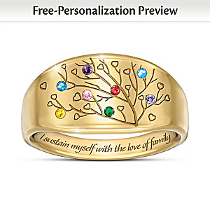 """Love Of Family"" Women's Personalized Birthstone Ring"