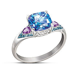 """Mystic Fantasy"" Women's Topaz, Diamond And Amethyst Ring"