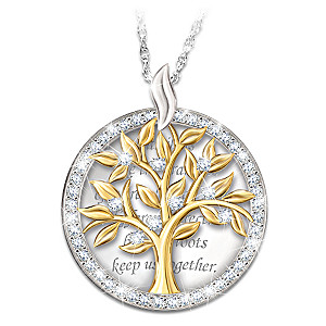 """Our Family Tree"" Swarovski Crystal Pendant Necklace"