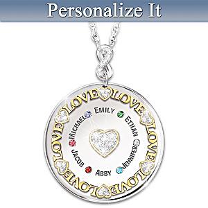Swarovski Crystal Birthstone Circle Pendant With Names