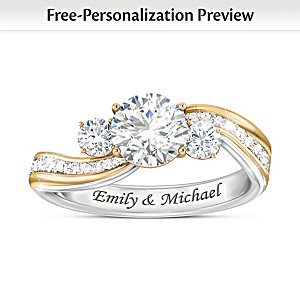 """The Story Of Us"" Diamonesk Ring Personalized With 2 Names"