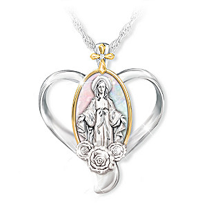"""""""Hail Mary"""" Mother Of Pearl And Diamond Pendant Necklace"""