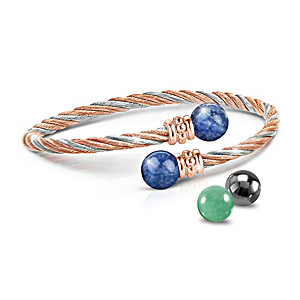 Cable Bracelet With Copper And Interchangeable Gemstones