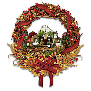 Charles Wysocki Autumn's Greeting Wreath