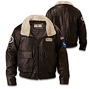 U.S. Military Air Force Men's Leather Aviator Bomber Jacket