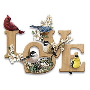 """LOVE In Bloom"" Sculptural Songbird Wall Decor"