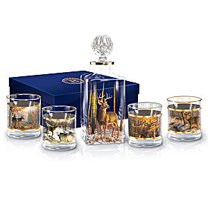 Woodland Majesty Five-Piece Decanter And Glasses Set