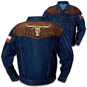 """Texas Pride"" Men's Denim Jacket With Longhorn Applique"