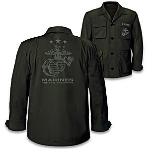 """USMC"" Men's Field Jacket With USMC Emblem And Motto"