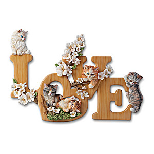 """Purr-Fect Love"" Sculptural Cat Wall Decor Spells LOVE"