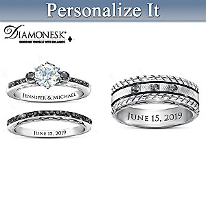Ride Of A Lifetime His & Hers Personalized Wedding Ring Set