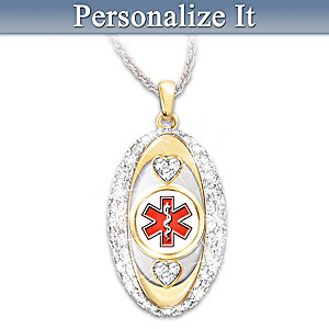 """Stylishly Safe"" Personalized Medical ID Pendant Necklace"