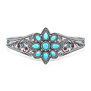 """Morning Star"" Women's Genuine Turquoise Cabochon Bracelet"