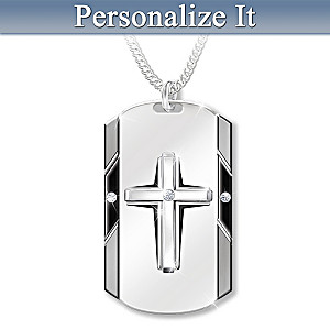 Bless My Husband Diamond Necklace With Personalized Etching