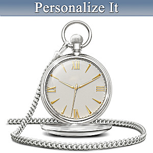 """Our Love Is Timeless"" Personalized Men's Pocket Watch"