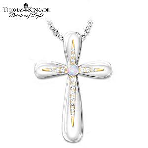 Thomas Kinkade Australian Opal Cross Pendant Necklace