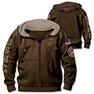 """Marine Corps Pride"" Men's Hoodie With Embroidered Patches"