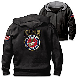 """Veterans Pride Marine Corps"" Men's Cotton-Blend Knit Hoodie"
