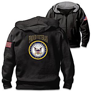 """Veterans Pride Navy"" Men's Cotton-Blend Knit Hoodie"