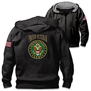 """Veterans Pride Army"" Men's Cotton-Blend Knit Hoodie"