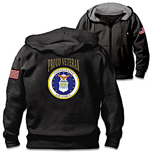 """Veterans Pride Air Force"" Men's Cotton-Blend Knit Hoodie"