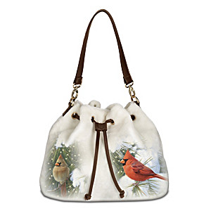 """Cardinals In Winter"" Fleece Handbag With Songbird Art"