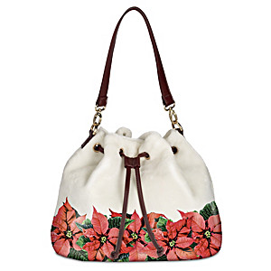"""Poinsettia Splendor"" Fleece And Faux Leather Handbag"