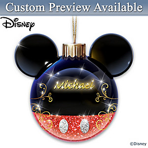 Mickey Mouse Personalized Illuminated Glass Ornament