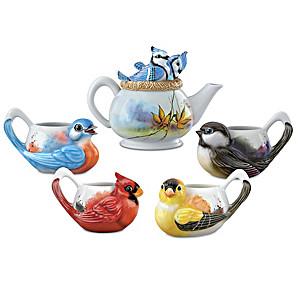 Sweet Songbirds Teapot And Teacups Figurine Set