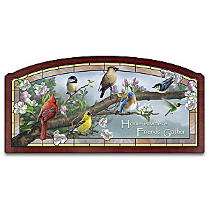 James Hautman Songbirds Illuminated Stained Glass Wall Decor